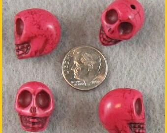 18mm Persian Rose Magnasite Skull Beads - Lot of 10
