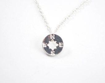 10mm Silver Compass Necklace - Travel Jewlery - Compass Jewelry D57