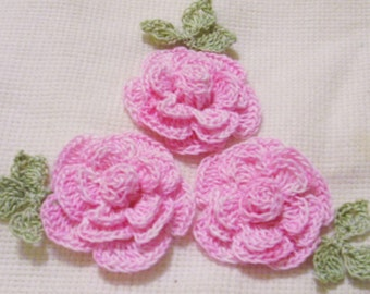 3 roses flowers hand dyed pink appliques scrapbooking sewn on home decor handmade embellishments
