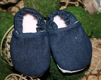 Baby or toddler booties blue denim, baby gift, crib shoes, baby shoes