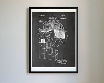 Slinky 1946 Toy Patent Prints Posters, Vintage Decor, Retro Wall Art, Toys (#010)
