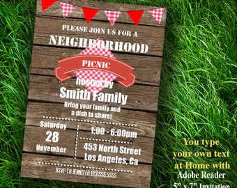 Instant Download Neighborhood Picnic Invitation Editable Printable Invite You type your own text at home - PDFfile A471