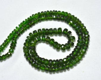 Green Chrome Diopside Rondelle Beads, 4mm - 5mm Chrome Faceted Rondelle Beads, Gemstone for Jewelry, 14 Inches Strand