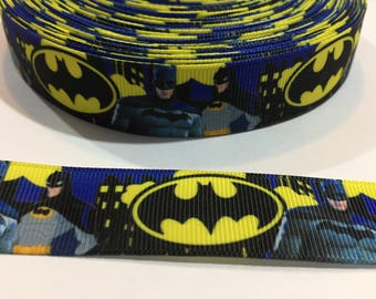 "3 Yards of 7/8"" Ribbon - Batman with a City Scape"