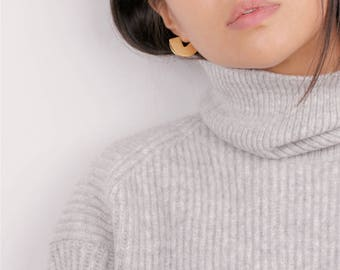 Chunky Gold Half Disc Trending Earrings - Sleek Hoop Earrings - Half Moon Earrings