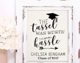 Graduation Gift, College Graduation Gift, High School Graduation Gift, Personalized Burlap Print