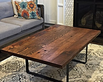Reclaimed wood coffee table hairpin legs Etsy