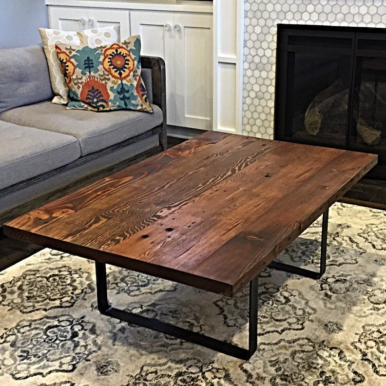 Etsy Wood Oval Coffee Table: Reclaimed Wood Coffee Table Handmade In Portland OR