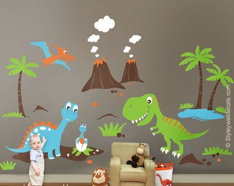 Dinosaurs Wall Decals ,Dino Land Wall decal, Dinosaurs Wall Sticker HUGE Set Children Nursery Kids Playroom Wall Decal Sticker Baby Room