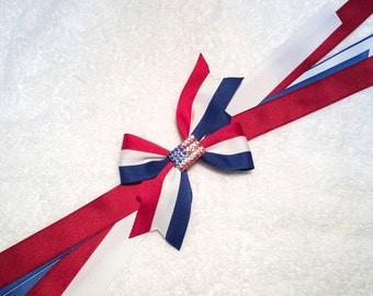 """4th of July Hair Bow with Streamers - 5"""" Boutique Pinwheel Bow on Partially Lined Clip - Stars, Stripes, Independence Day, July 4th, Flag"""