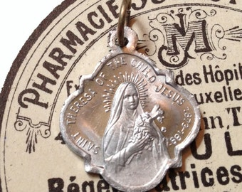 SAINT THERESA MEDAL Antique Vintage Religious I Will Spend My Heaven Doing Good Upon Earth