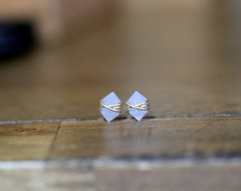 Gemstone Stud Earrings, Blue Chalcedony Spike Post Earrings in Gold , Rose Gold , Sterling Silver , Sheer Geometric Natural Stone - Pike