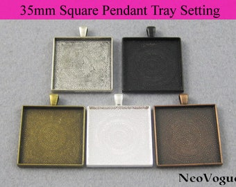 50 - 35mm Square Pendant Setting, 35mm Square Glass Setting, 35mm Square Pendant Blanks, Blank Bezel Setting - FREE SHIPPING