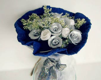 Clay roses, bouquet - silver and purple (20 flowers)