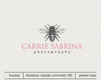 Bee photography logo - Eps and Png file watermark - Premade custom logo - realistic sketch bee  logo for photographers