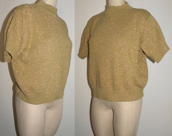 1980's 80s GOLD cropped Sweater / Mock Turtle Neck Metallic Boxy Crop Fit / acrylic 10% LUREX / made USA / M/L