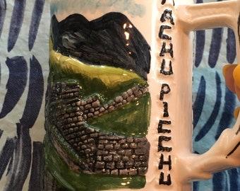 Vintage Machu Picchu 3D Souvenir Ceramic Coffee Mug - Machu Picchu mug, South America souvenir, novelty coffee mug, souvenir mug