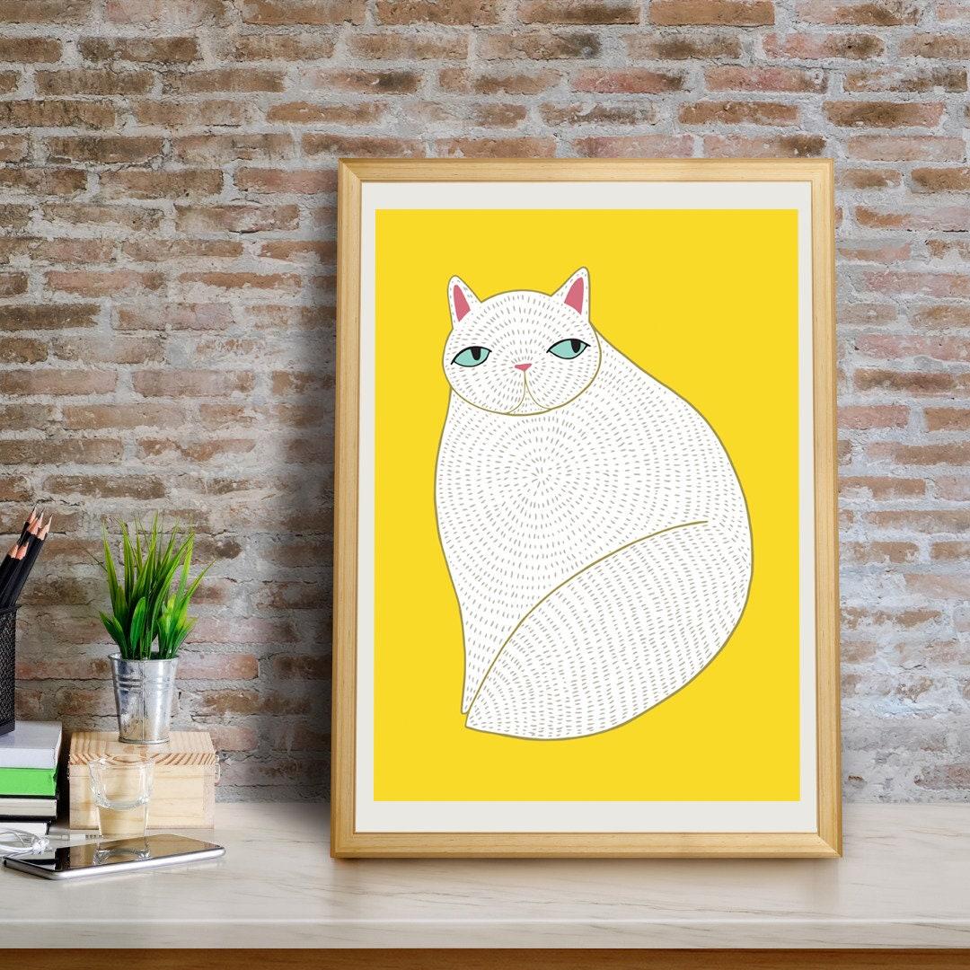 White Cat Art Print, Cat Wall Art, White Cat Wall Art, Cat Decor ...