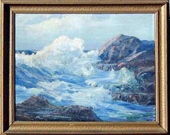 "Vintage Seascape painting Cyril Ralph Baker   ""California Coast"""