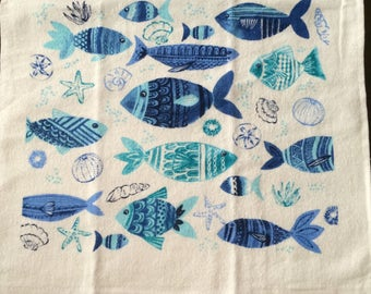 Blue Fish on White Background Crochet Top Towel (R2)