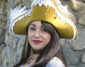 Golden mustard Pirate tricorn hat with white and gold trim