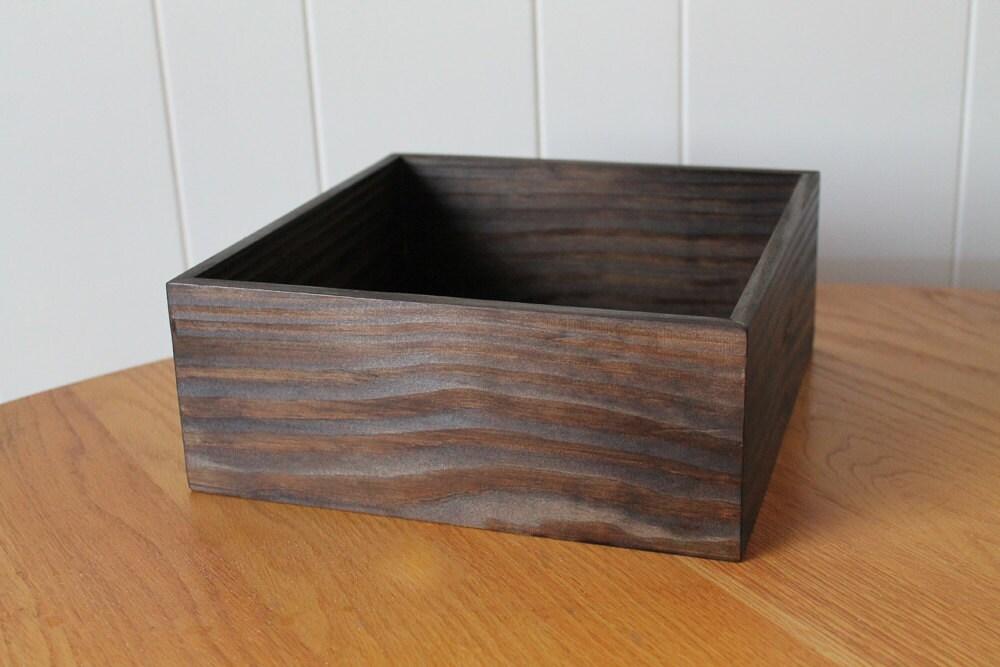 Wooden box dark brown wedding centerpiece flower