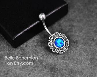 Fiery - Blue Opal - Belly Button Ring - Opal Belly Button Ring - Opal Belly Jewelry - 14G - Surgical Steel - Opal Navel Ring