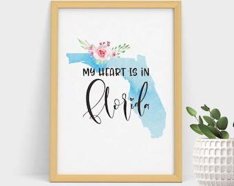 Map Print Florida Silhouette, Home Gift