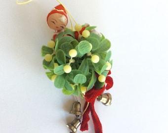 Vintage Mistletoe with Elf Christmas Ornament
