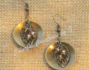 Autumn Splendor Earrings with brass leaf & disc and faceted crystals