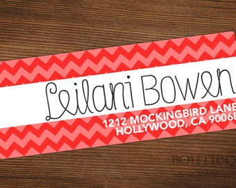 Spunky Chevron Personalized Return Address Label with Color Choices