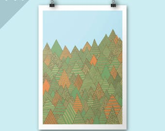 Autumn Forest / A4 print / Autumn poster print / Art print / Illustration / Contemporary art / Nursery art / children room decor