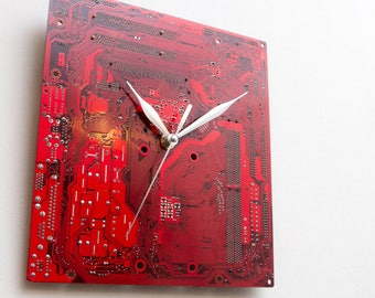 Dark Red Large Wall Clock - Circuit Board Clock - Original Clock - Unique Gift - Boyfriend Gift - Husband Gift - Birthday Gift - Dad Gift