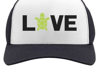 I Love Turtles - Animal Lover Turtle Print Cute Trucker Hat Mesh Cap