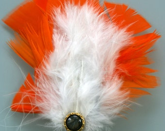 White and Orange Hair Fastener with Marbled Accent