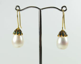Silver Gold Plated Freshwater Pearl Emerald And Black Diamond Studded Earrings