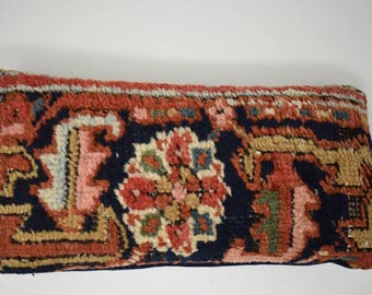 Pillow Wool Kilim Multi-Colored with Blues, Oranges and Greens on One Side and Blue Velvet Back with Zipper Vintage Home Decor Statement