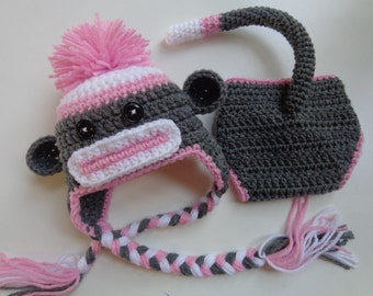 Newborn Pink Sock Monkey Hat and Diaper Cover