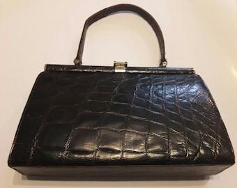 Vintage 1950s/ 1960s dark brown Alligator/Crocodile Handbag