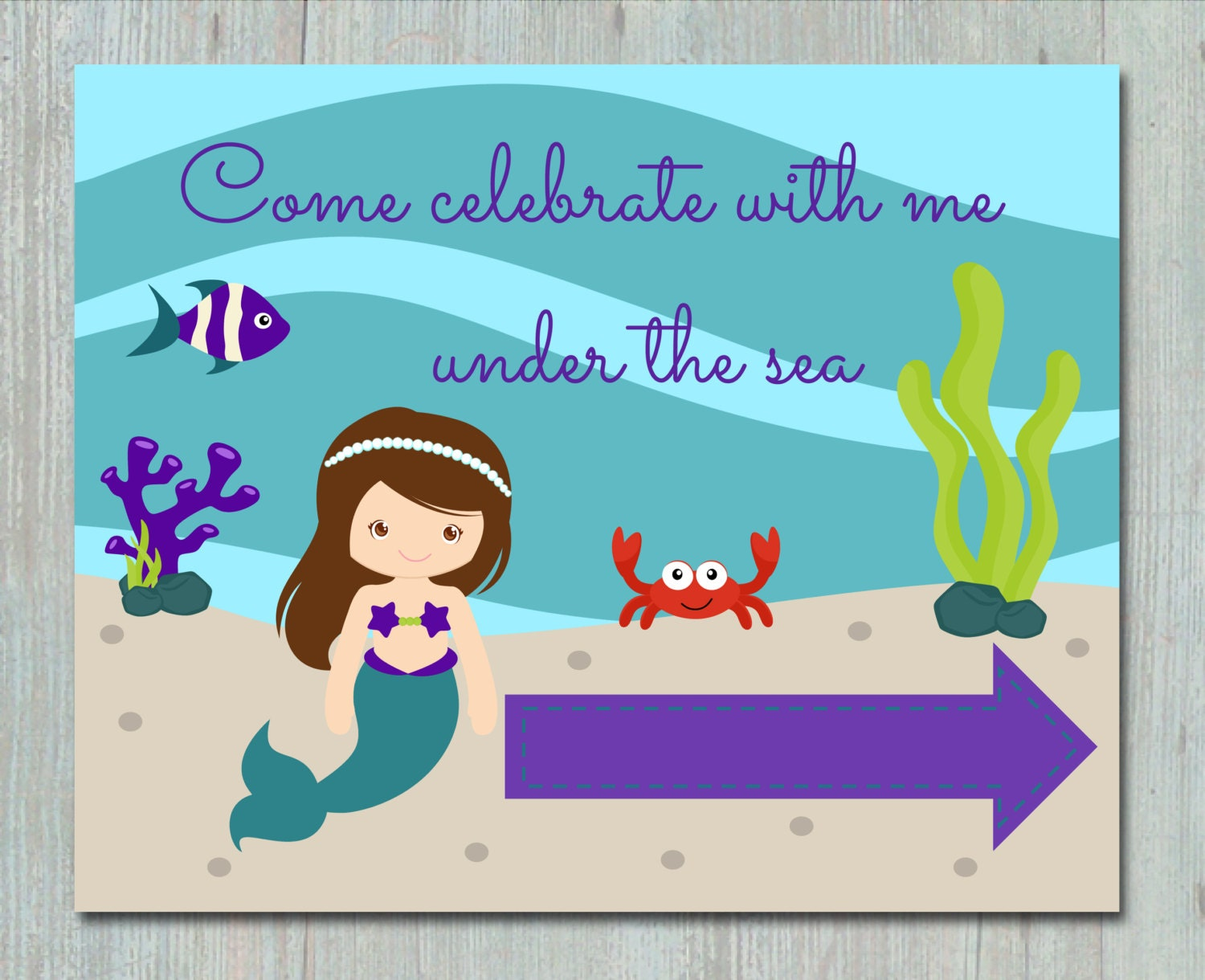 Under the sea mermaid party decor printables birthday zoom request a custom order kristyandbryce Image collections