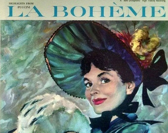 La Boheme Opera LP, 1956 RCA Vintage Vinyl Record of highlights. Prized historic performance, terrific condition, great classical music gift