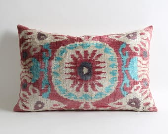 Pink blue white silk velvet ikat decorative pillows cover // handwoven hand dyed pink decorative pillows // 14x22 lumbar ikat velvet pillow