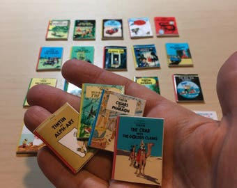 Tintin Complete Collection of All 24 Comic Books Dollhouse Miniature Handmade, 1:12th scale