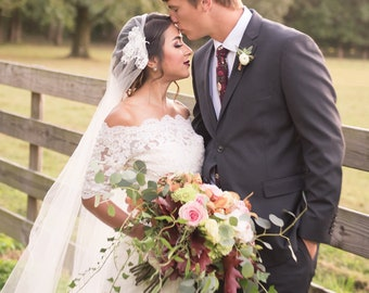 Juliet Cap Wedding Veil / Vintage Style Alencon Lace / Single Layer Tulle Veil