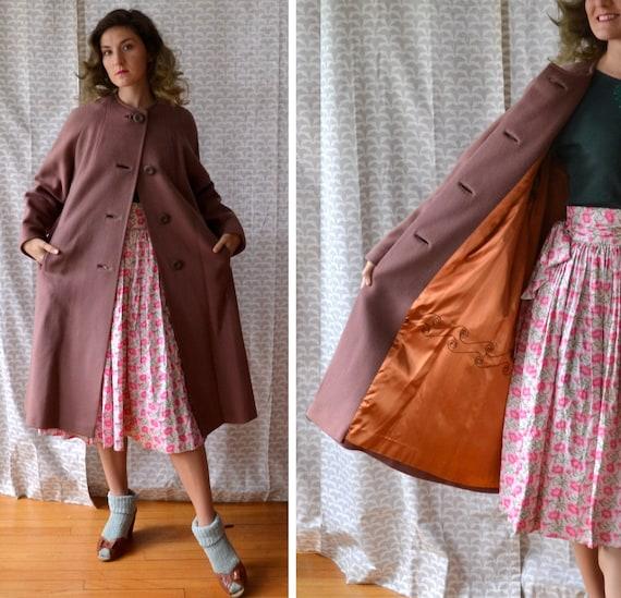 Gingerbread Gem Coat | vintage 40's tan wool swing coat | rosegold satin lining