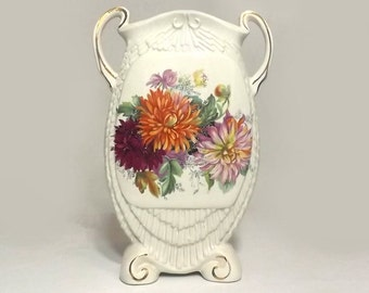 Vintage Flat Vase, Autumn Flowers, England Ceramic, Cottage Chic or Victorian Home Decor