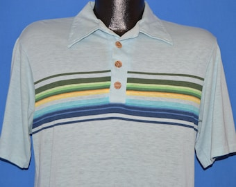 80s Striped Button Up Surf Polo t-shirt Medium