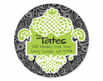 Black Lime Damask Personalized Address Labels Stickers
