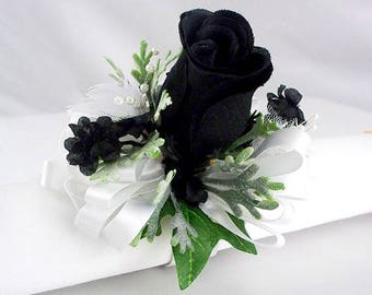 Black and white wrist corsage, prom corsage, homecoming corsage ,  bridal accessories,  flower corsage,  bridesmaid corsage