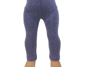 """Leggings - Heathered Purple Performance Fabric - Doll Clothes made to fit 18"""" American Girl Dolls"""